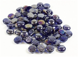 Glass Flat Marbles, Blue