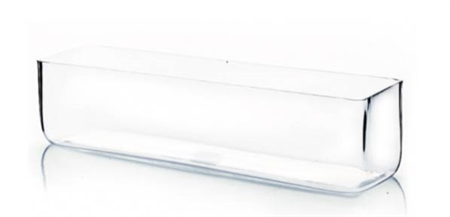 "Glass Rectangular Vase,  16"" x 4"" x 4"""
