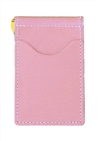 pink  back saver wallet with brown pockets