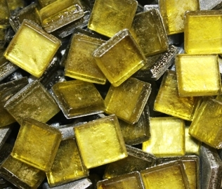 Crystal Metallic Tiles..Yellow..3/8""