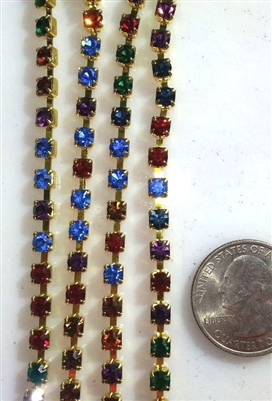 Rhinestone Chain Multi Colors..4.5mm