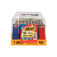BIC (LARGE) Disposable Lighters.  Display/50 + 3 Lighters