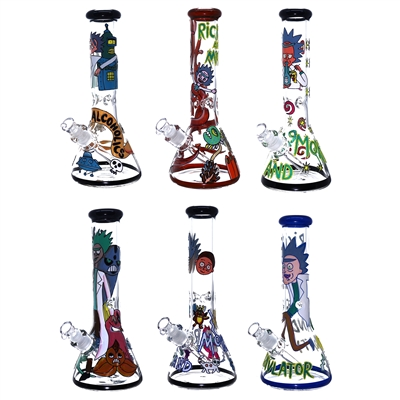 C6221 12'' Beaker R&M Hand Painted 7MM Waterpipe