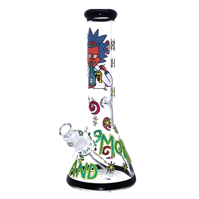 C6221-3 12'' Beaker R&M Hand Painted 7MM Waterpipe