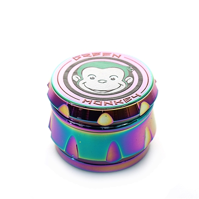 Green Monkey 4 Pieces 2.5'' Zinc ( Drum-style )  Grinder Rainbow