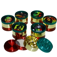 4 Piece Rasta 2'' Zinc Grinder With Bob Sticker