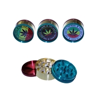 3 Parts Rasta Color 2'' Grinder With Sticker