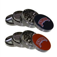4 Piece 2.5'' Gun Metal Zinc Grinder With Sticker