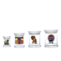 Airtight Glass Jar With Decals  Extra Large 4.75''x4''