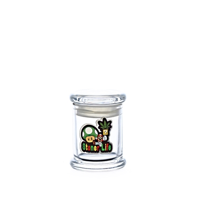 Airtight Glass Jar With Decals  Small 3''X2''