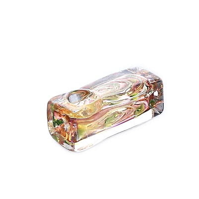 RT18  Thick Square Gold Fumed Hand pipe 3''