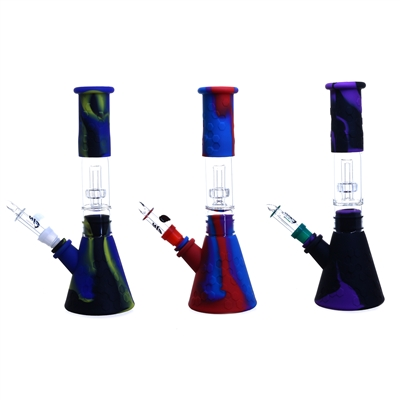 Silicone Beaker 11'' Waterpipe with Glass Perc