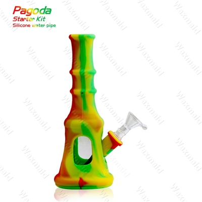 "Waxmaid Pagoda 9"" Silicone Waterpipe"