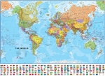 World, Political with Flags, laminated by Maps International Ltd.