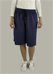 Modest knee length athletic culotte blue shorts