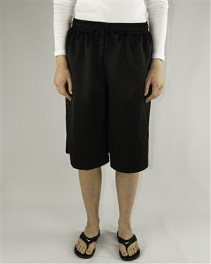 Modest below the knee length athletic culotte black shorts