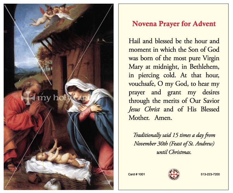 Novena Prayer for Advent | Catholic Prayer Cards | St. Andrew ...