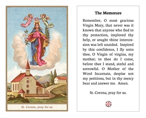 "<b><font color=""#FF0000"">St. Corona Prayer Card with the Memorare Prayer</font></b>"