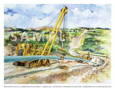 "Marathon Pipe Line LLC | Cornerstone Pipeline Project – Summer 2016 | Eastern Ohio | Watercolor by Joan Satow – Commissioned by Benjamin Media Inc. Limited Edition Fine Art ""Giclee"" Print."