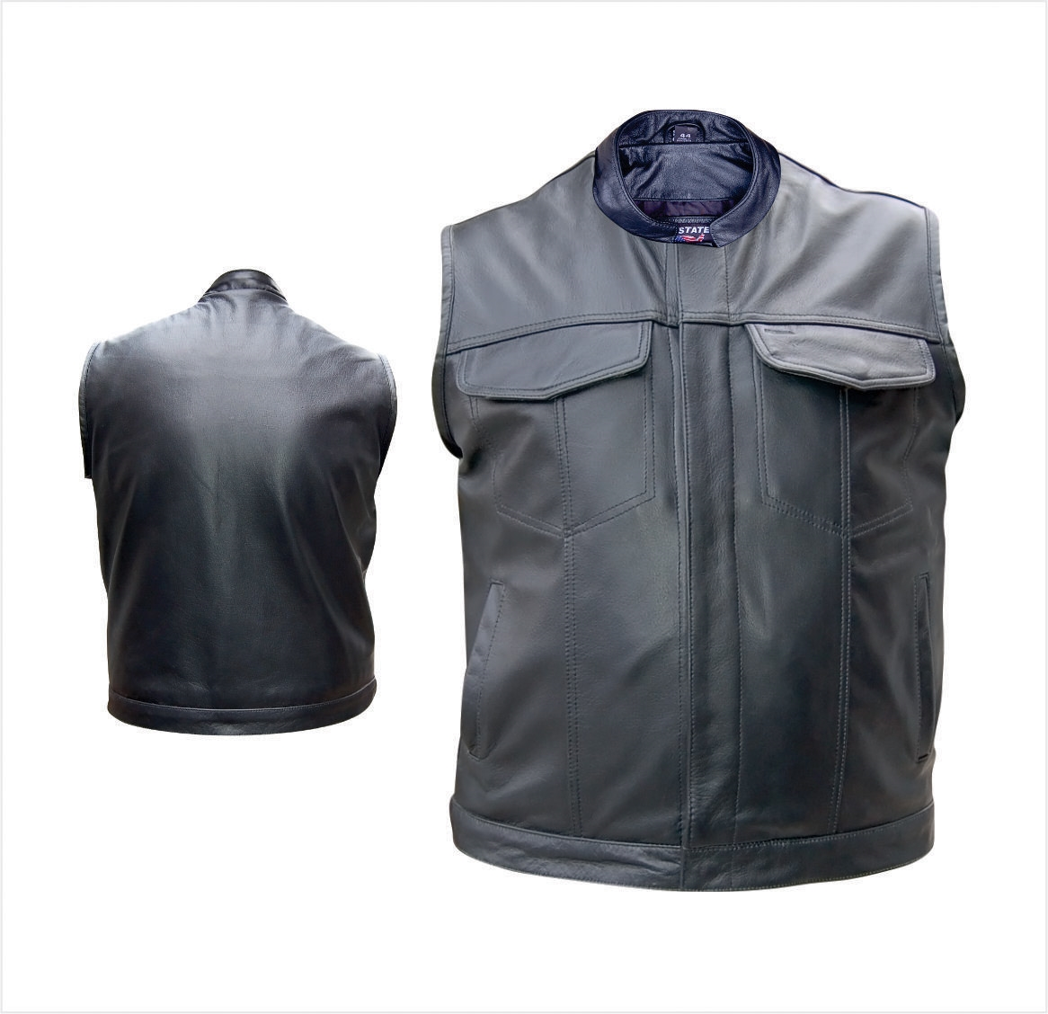Men's Leather Vest in Denim style with Gun pockets & Gun Holster Single  panel back (Buffalo)