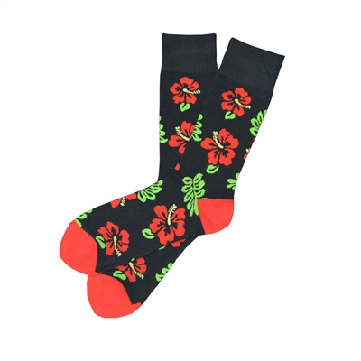 The School of Sock - The Aloha Black, Red and Green Hawaiian Sock