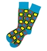 The School of Sock - The Aubrey Green, Blue, Red and Yellow Square Pattern Sock