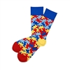 Sock 101 - The Just Be You - Autism Red, Blue and Yellow Puzzle Charity Sock