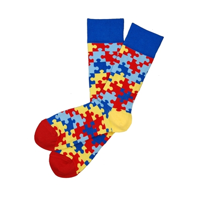 The School of Sock - The Just Be You - Autism Red, Blue and Yellow Puzzle Charity Sock