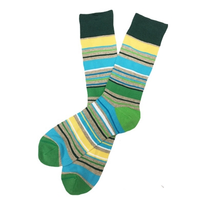 The School of Sock - The Baker Green, Gray, Blue and Yellow Striped Sock