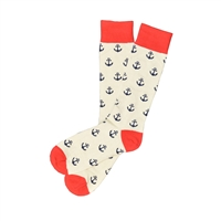 The School of Sock - The Blake Red, Beige and Navy Over The Calf Anchor Sock