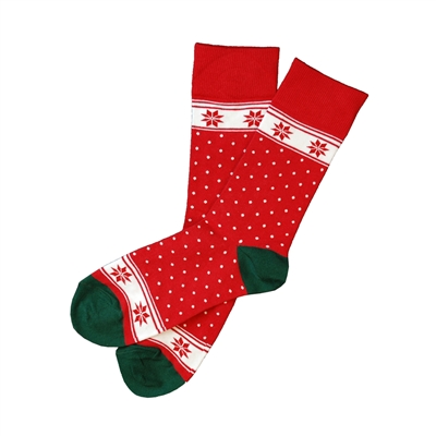 The School of Sock - The Blitzen Red, White and Green Polka Dot, Snowflake Christmas Sock