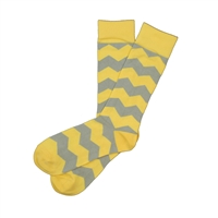 Sock 101 - The Branch Yellow and Gray Over The Calf Chevron Sock