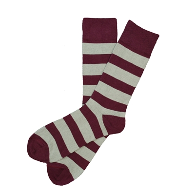The School of Sock - The Breault (bro) Maroon and Gray Striped Sock