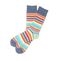 The School of Sock - The Chase Navy, Red, Orange and Yellow Striped Sock