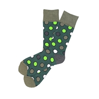The School of Sock - The Cooper Hunter Green, Gray, White and Lime Polka Dot Sock