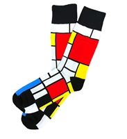 The School of Sock - The Cornelius Blue, Red, White and Yellow Square Pattern Sock