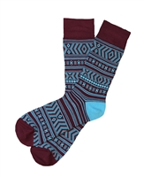 The School of Sock - The Craig Turquoise and Maroon Aztec Sock