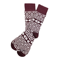 The School of Sock - The Creed Maroon and White Aztec Bohemian Sock