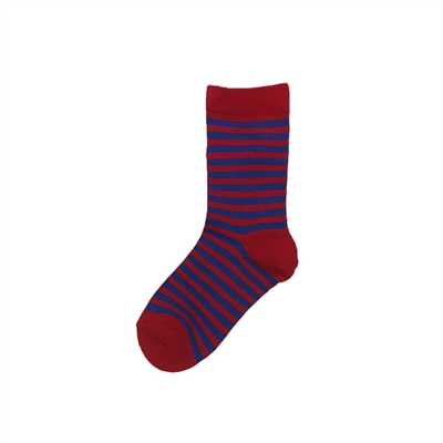 Sock 101 - The Danny Red and Blue Striped Kids Sock