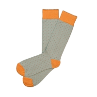 The School of Sock - The Dapper Dot Gray and Burnt Orange Polka Dot Sock
