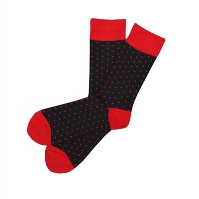Sock 101 - The Dawson Red and Black Polka Dot Sock