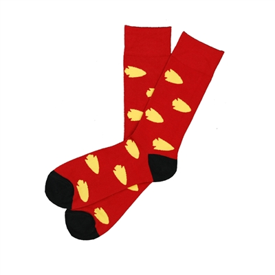 Sock 101 - The Derrick Red and Yellow Arrowhead Sock