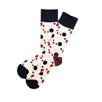 The School of Sock - The Dexter White, Navy and Red Polka Dot Sock