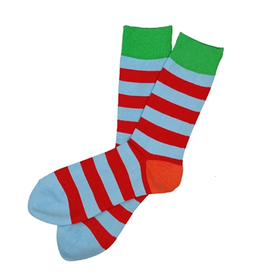 The School of Sock - The Dunn Red and Light Blue Striped Sock