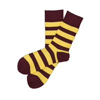 Sock 101 - The Dylan Maroon and Yellow Striped Sock