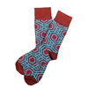 The School of Sock - The Gene Maroon, Red, Teal and Grindle Patterned Sock