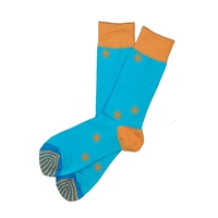 The School of Sock - The Goldemberg Teal and Orange Polka Dot Sock (Design Contest Winner)