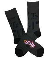 The School of Sock - The T Birds Combs, Black, Gray, Red and Blue Grease The Movie Sock