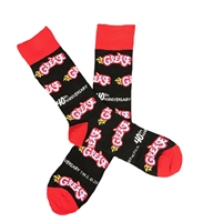 The School of Sock - The Grease Logo Black, Gray, Red and Blue Grease The Movie Sock