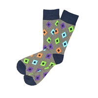 The School of Sock - The Gregory Gray, Purple, Orange, Green and Blue Diamond Sock